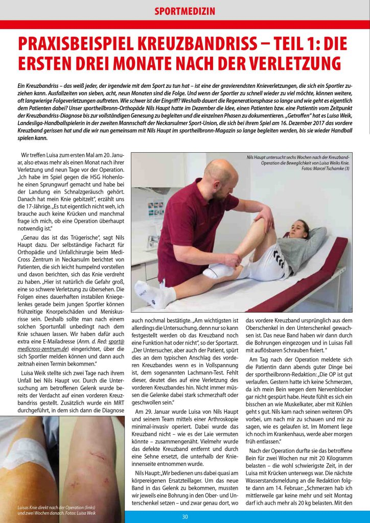 Medicross-Zentrum Orthopädie Sportorthopädie Unfallchirurgie Chirurgie Neckarsulm Boris Brand Kreuzbandriss